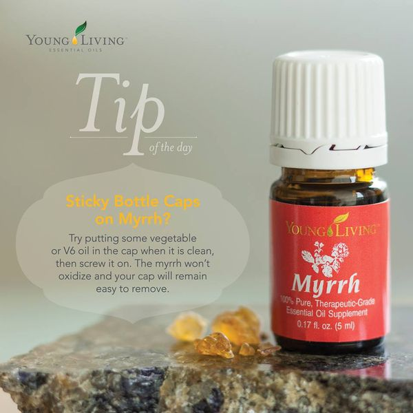 Do You Have Sticky Bottle Caps On Myrrh Essential Oil And