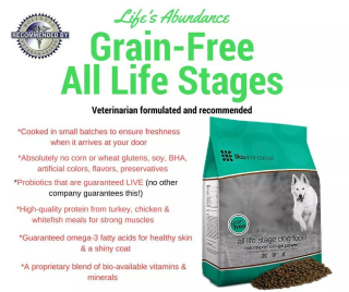 Lifes Abundance Grain Free All Stages Food For Dogs and Puppies www.HealthyPetPeeps.com