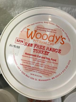 Woody's Pet Food Deli Raw Food Recall Free Range Turkey www.HealthyPetPeeps.com