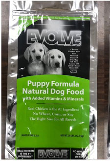 Evole Puppy Food Recall www.HealthyPetPeeps.com