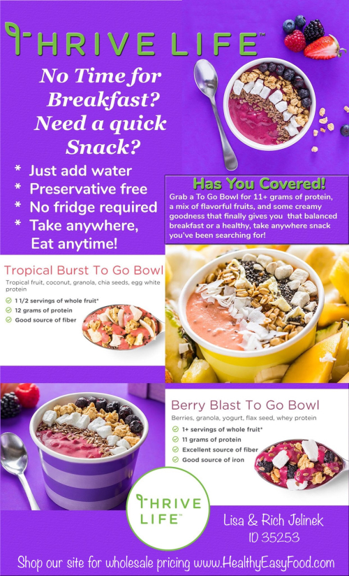 Thrive Life To Go Bowls www.HealthyEasyFood.com