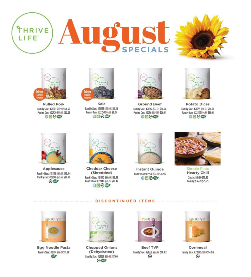 August Thrive Life sales www.HealthyEasyFood.com