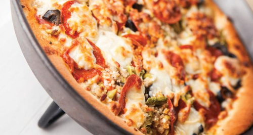 Dutch Oven Deep Dish Pizza www.HealthyEasyFood.com