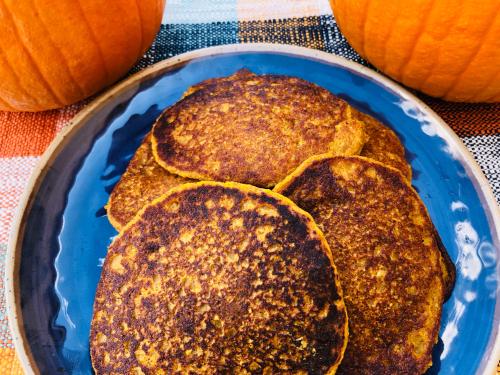 Pumpkin Spice Protein Pancake Recipe www.HealthyPetPeeps.com