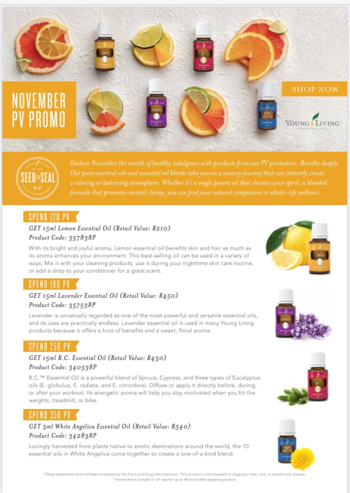 South Africa November Young Living promos www.EssentialOils4Sale.com