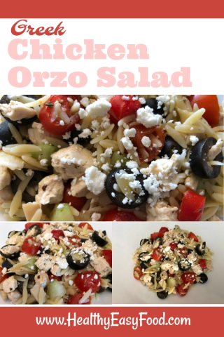 Green Chicken Orzo Salad - Warm or Cold www.HealthyEasyFood.com