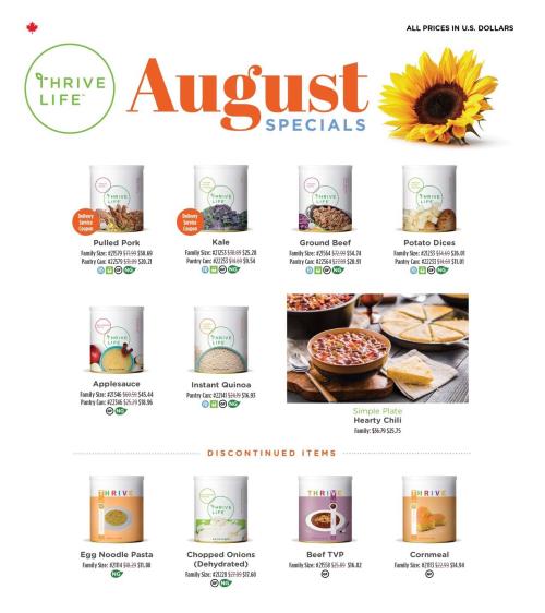 Thrive Life Canada August sales www.HealthyEasyFood.com