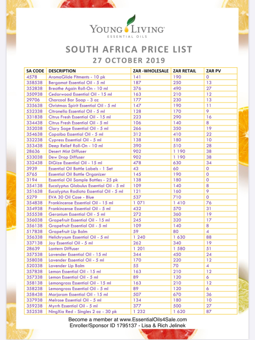 Young Living South Africa Prices www.EssentialOils4Sale.com