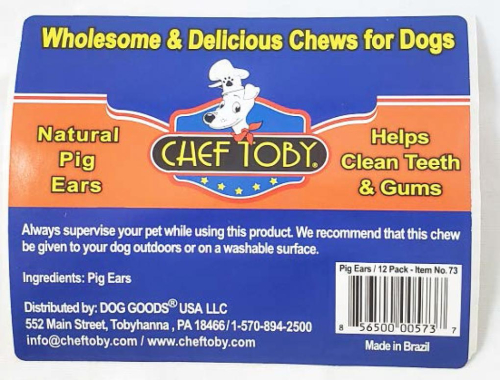 Chef Toby Pig Ears Recalled www.HealthyPetPeeps.com