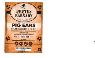 Brutus and Barnaby 25 count Pig Ears Recalled www.HealthyPetPeeps.com