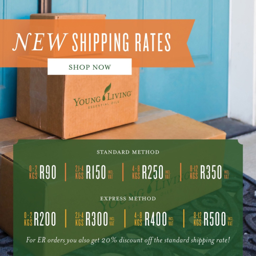 Young Living South Africa Shipping Rates www.EssentialOils4Sale.com