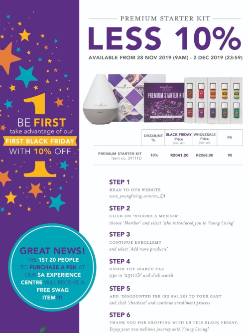 Young Living South Africa Black Friday Save 10% On Becoming a Member www.EssentialOils4Sale.com