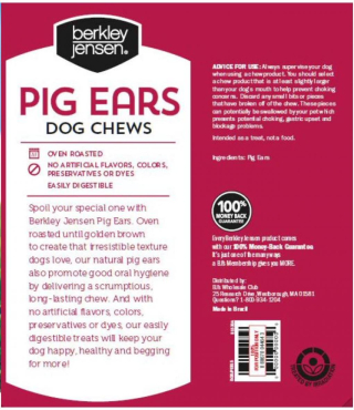 Berkley & Jensen pig ears recalled www.HealthyPetPeeps.com