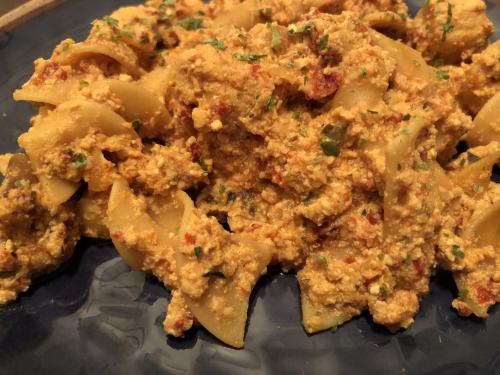 Sun Dried Tomato Tofu Pasta Recipe www.HealthyEasyFood.com