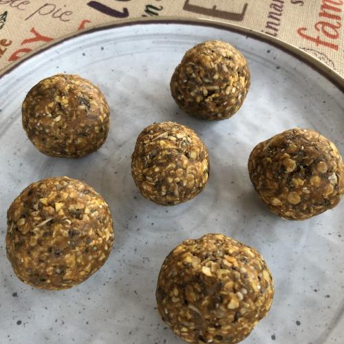 No Bake Pumpkin SunButter Protein Balls Recipe www.HealthyPetPeeps.com