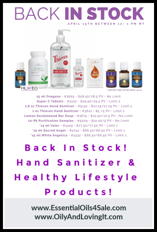 Young Living Back In Stock Hand Sanitizer www.EssentialOils4Sale.com