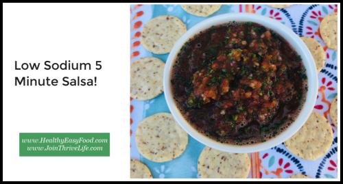 Low Sodium 5 Minute Salsa Recipe www.HealthyEasyFood.com