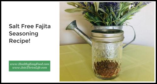 Salt Free Fajita Seasoning Recipe www.HealthyEasyFood.com