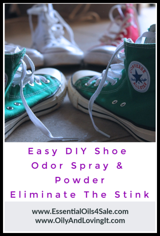 Easy DIY Shoe Odor Spray and Powder - Eliminate The Stink www.EssentialOils4Sale.com