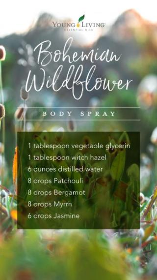 Bohemian Wildflower Body Spray www.EssentialOils4Sale.com