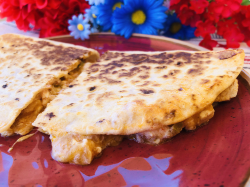 Recipe for Cheesy Chicken Camping Quesadillas www.HealthyEasyFood.com