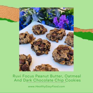 Peanut Butter  Oatmeal And Dark Chocolate Chip Cookies with Ruvi Focus Recipe www.HealthyEasyFood.com