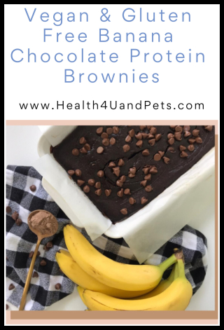 Vegan and Gluten Free Banana Chocolate Protein Brownies - www.Health4UandPets.com