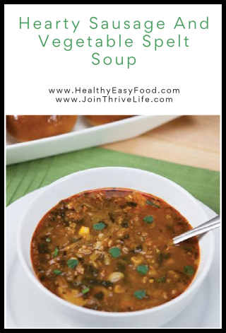 Hearty Sausage And Vegetable Spelt Soup - www.HealthyEasyFood.com