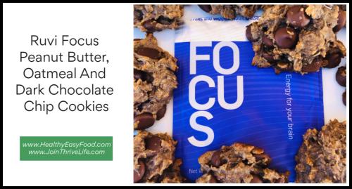 Ruvi Focus Peanut Butter  Oatmeal And Dark Chocolate Chip Cookies www.HealthyEasyFood.com