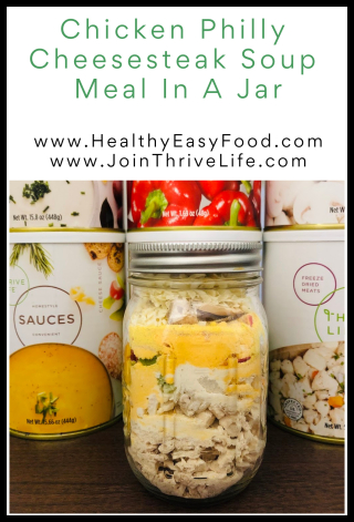 Chicken Philly Cheesesteak Soup Meal In A Jar Recipe www.HealthyEasyFood.com
