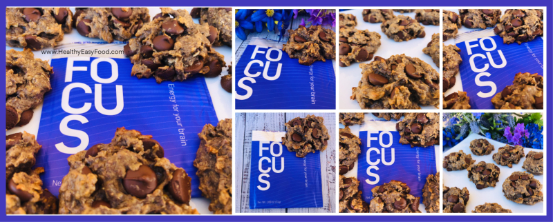 Peanut Butter  Oatmeal And Dark Chocolate Chip Cookies with Ruvi Focus - www.HealthyEasyFood.com