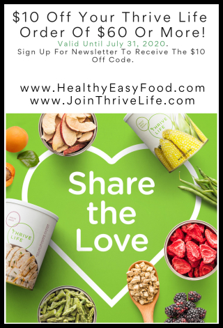 $10 Off Thrive Life Orders $60 Or More - www.HealthyEasyFood.com