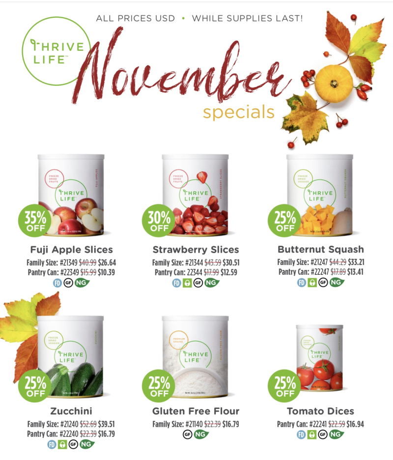 Thrive Life November Specials www.HealthyEasyFood.com