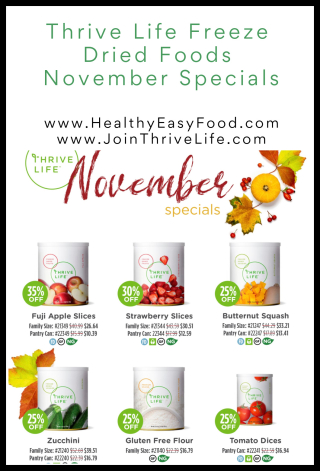 Thrive Life November Specials Freeze Dried Foods www.HealthyEasyFood.com