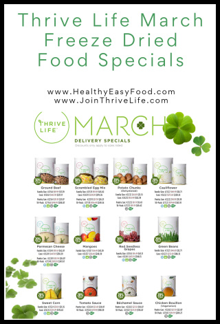 Thrive Life March Freeze Dried Food Specials - www.HealthyEasyFood.com