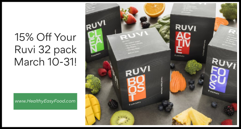 15% off your Ruvi 32 pack March 10-31 www.HealthyEasyFood.com