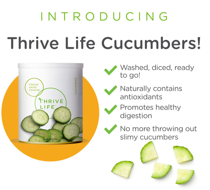 Thrive Life Freeze Dried Cucumbers www.HealthyEasyFood.com
