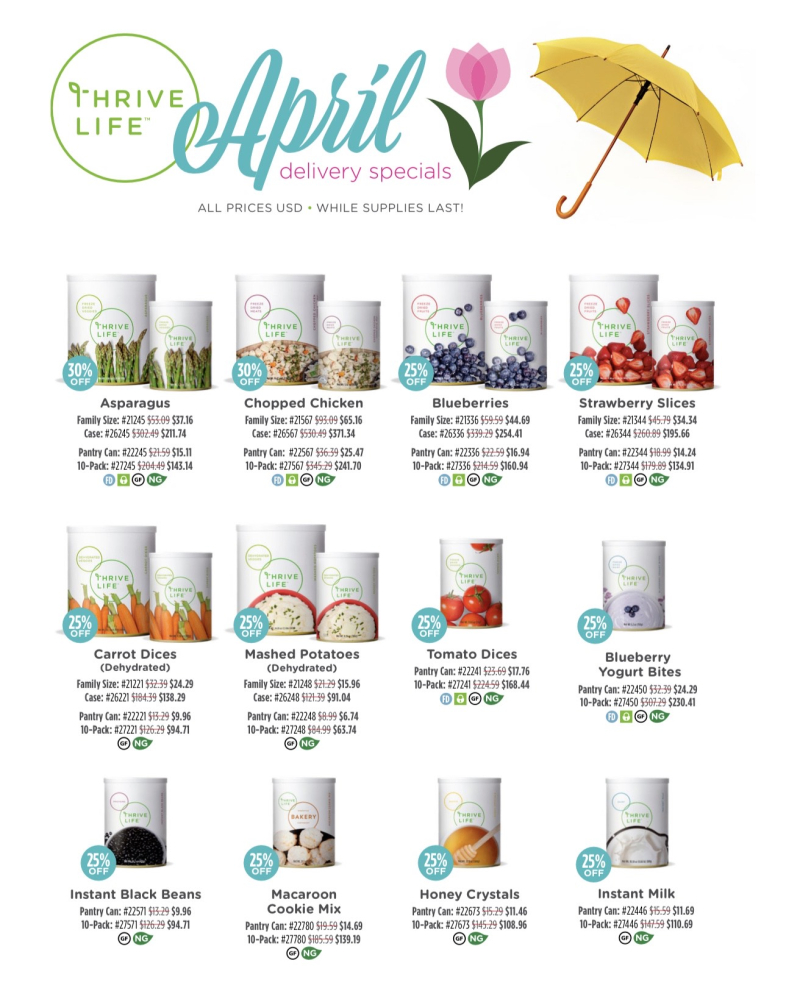 April Delivery Specials for Thrive Life www.HealthyEasyFood.com