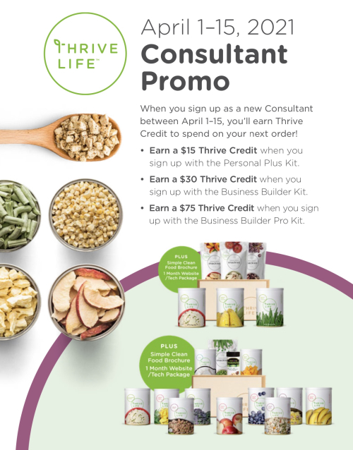 Thrive Life new consultant promo April 1-15 www.HealthyEasyFood.com