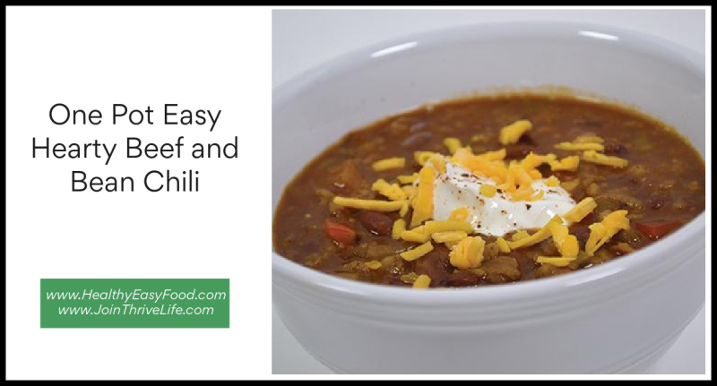One Pot Easy Hearty Beef and Bean Chili www.HealthyEasyFood.com