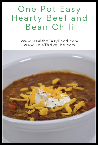 One Pot Easy Hearty Beef and Bean Chili - www.HealthyEasyFood.com