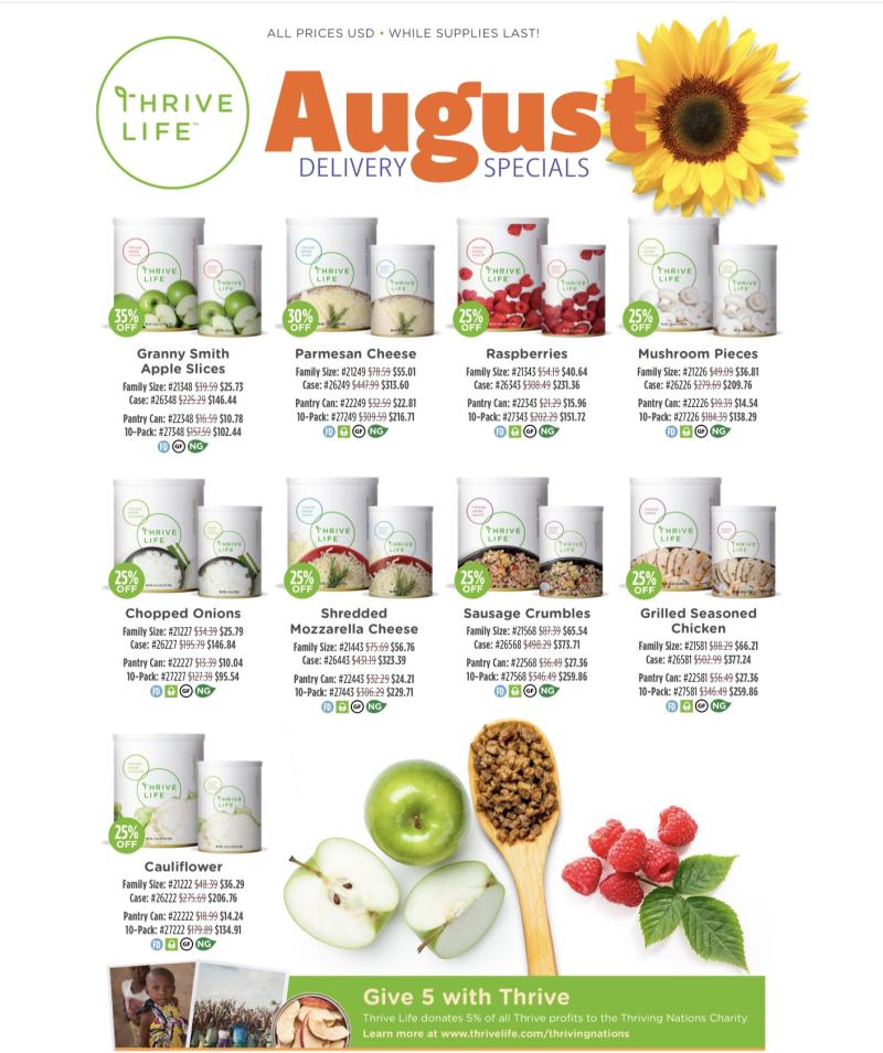 Thrive Life August Specials www.HealthyEasyFood.com